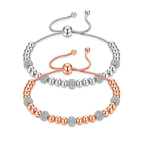 Bead Slider Bracelet with CZ Stones (Silver/Rose Gold)