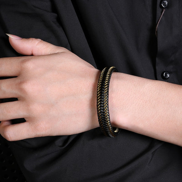 Gold Black Braided Leather Bracelet for Men