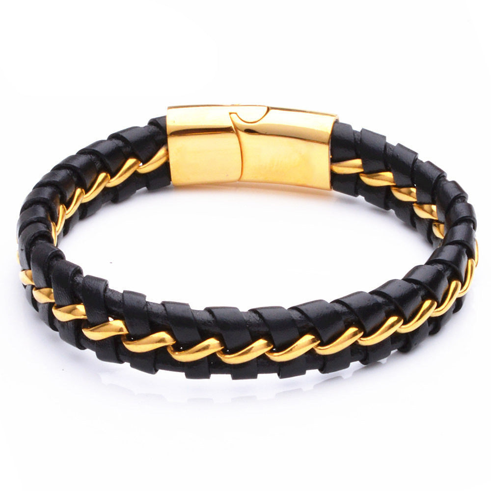 Men's Black Leather Bracelet with Gold Link Steel Chain