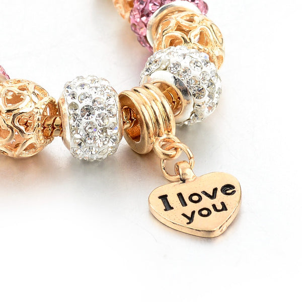 PS I Love You Gold Charm Bracelet for Women and Girls