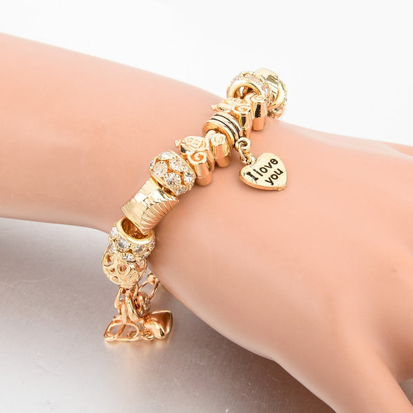 Seashells and Chariot Gold Charm Bracelet for Women and Girls