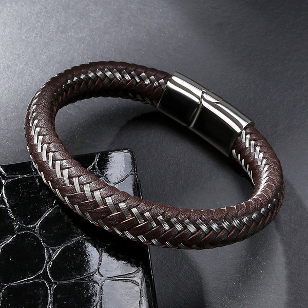 Men's Brown Leather Bracelet Braided with Silver Steel Cords
