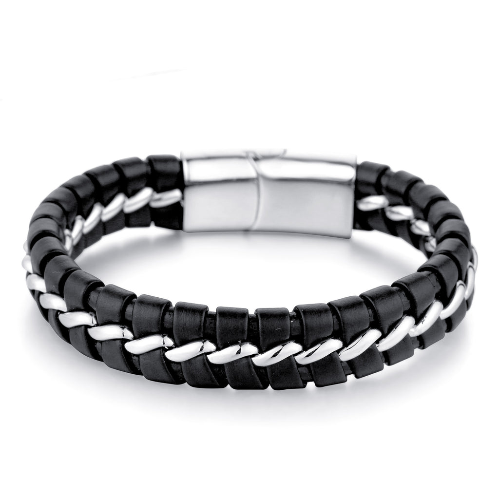 Men's Black Leather Bracelet with Silver Link Steel Chain