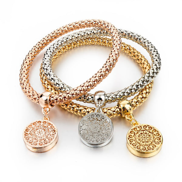 Mandala Three in One Charm Bracelet Set with Stretch Popcorn Chain