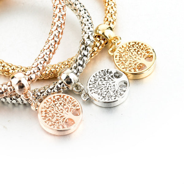 Tree of Life Three in One Charm Bracelet Set with Stretch Popcorn Chain