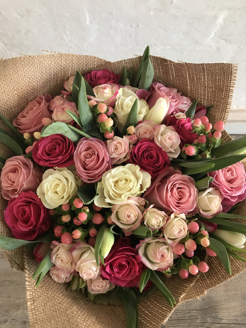 Brighton florist deliver to all melbourne suburbs think blooms too many roses and tulips bouquet izmirmasajfo