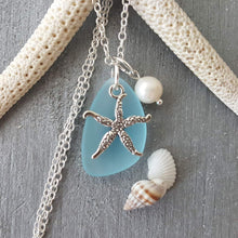 Handmade in Hawaii- turquoise bay blue sea glass necklace