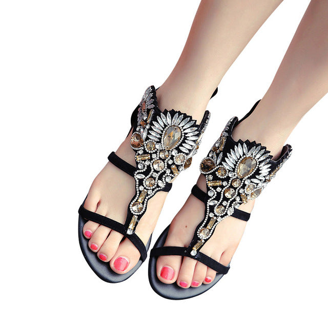 804c5270da40 ... HEE GRAND Crystal Gladiator Sandals Summer Flip Flops Casual Shoes  Woman Slip On Flats Rhinestone Women ...