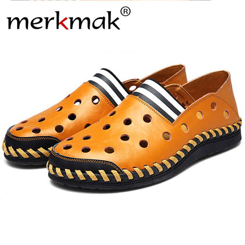 f30c1eae9040f Merkmak High Quality Men s Shoes Fashion Casual Summer Beach Loafer  Moccasins Breathable Man Soft Hole Footwear
