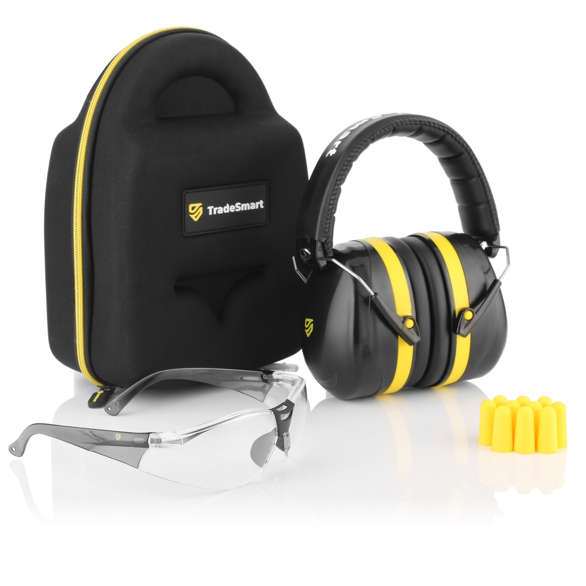 TRADESMART PROFESSIONAL - Yellow Earmuffs, Indoor Clear Safety Glasses, Protective Case & Earplugs