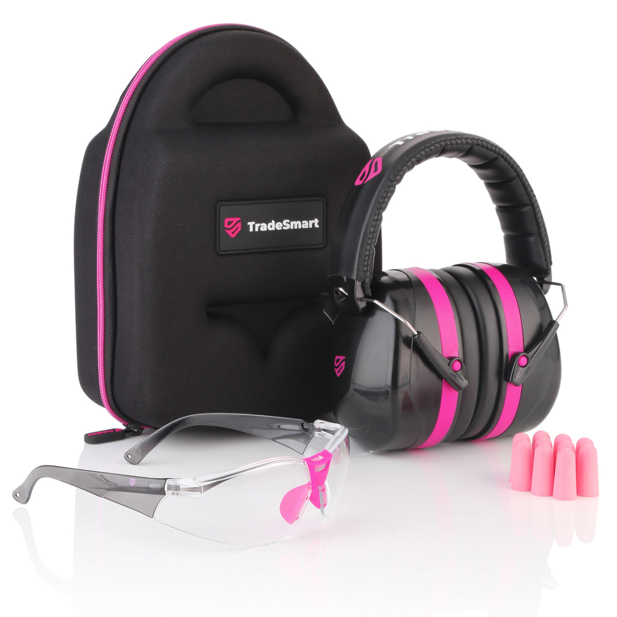 TRADESMART PROFESSIONAL - Pink Earmuffs, Indoor Clear Safety Glasses, Protective Case & Earplugs