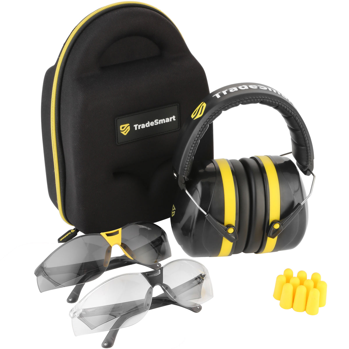 PROFESSIONAL - Yellow Earmuffs, Indoor/Outdoor Safety Glasses, Protective Case & Earplugs