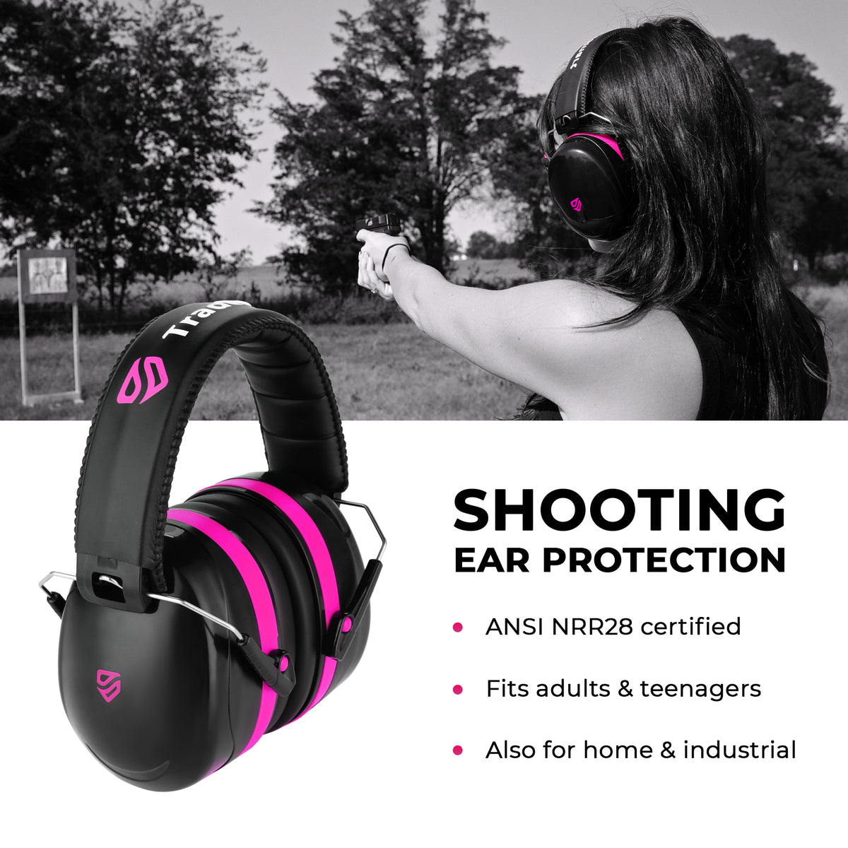 TRADESMART PROFESSIONAL - Pink Earmuffs, Indoor/Outdoor Safety Glasses, Protective Case & Earplugs