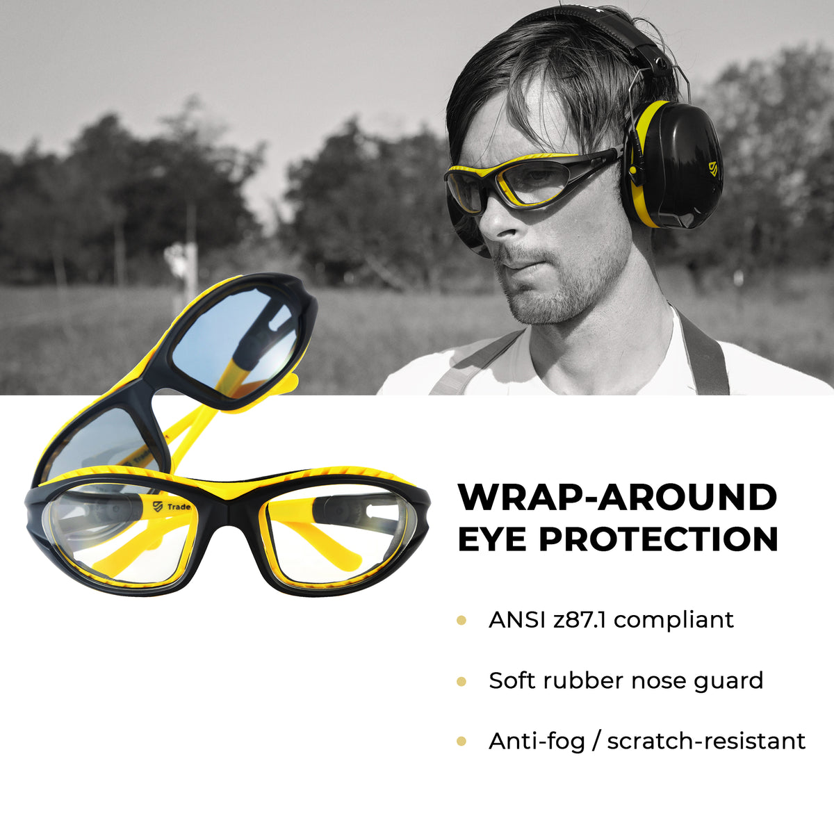 TRADESMART PREMIUM - Yellow Earmuffs and Indoor & Outdoor Glasses – Comes with Heavy Duty Case