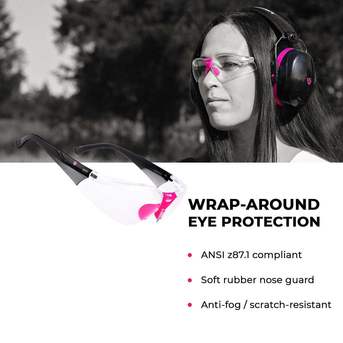 ESSENTIALS - Pink Earmuffs & Clear, Indoor Safety Glasses
