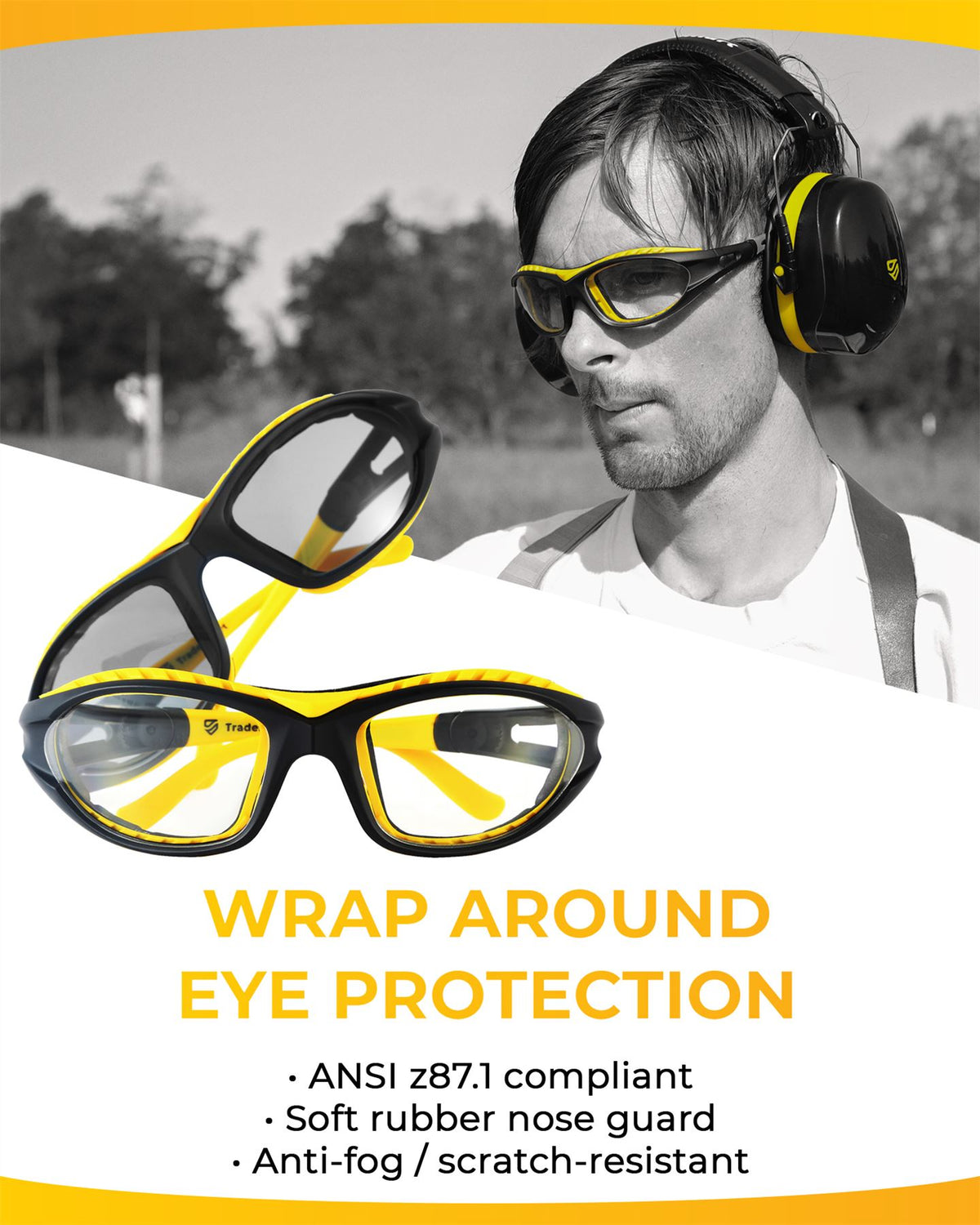 PREMIUM - Earmuffs and Indoor Glasses - Comes with Heavy Duty Case