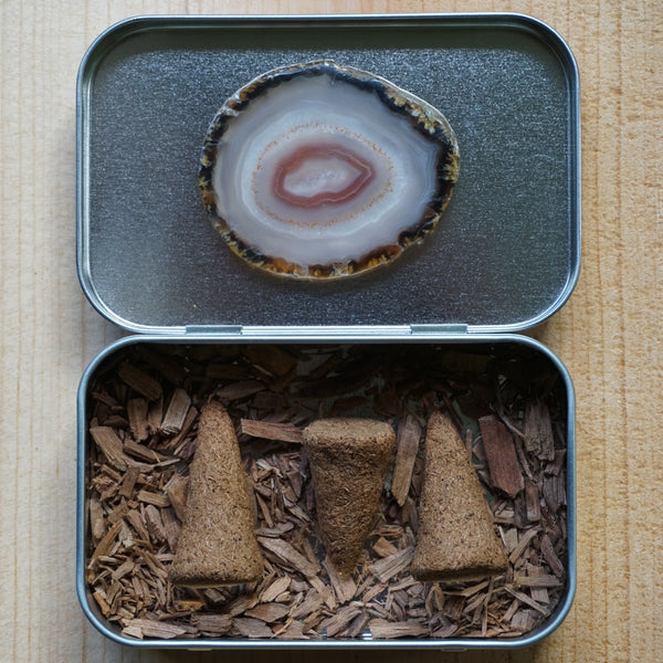 Sandalwood Incense Cones and Agate Stone