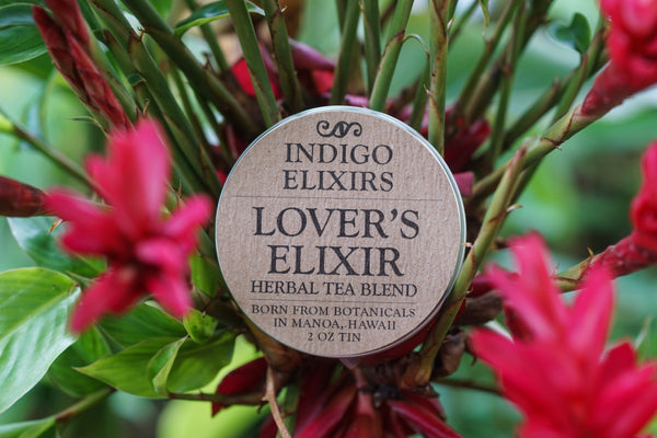 Lover's Elixir aphrodisiac herbal tea & Hawaiian wild ginger flowers