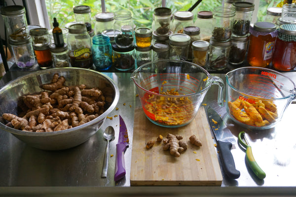 Process of Peeling & Chopping Organic Hawaiian Turmeric