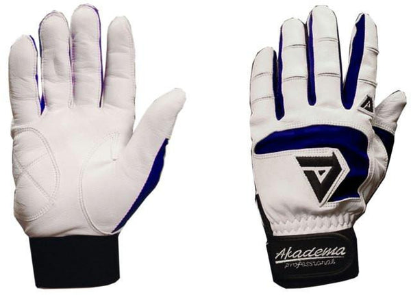 Akadema White-Navy Professional Batting Gloves Large