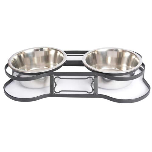 Iconic Pet - Heavy Duty Pet Double Diner for Dog or Cat (Bone Design) - 2 Qt - 64oz ¿¿¿ 8 cup