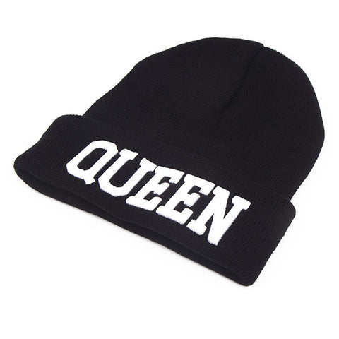 King Queen Winter Hats For Women Men Bonnet Couple Hip Hop Hot Sale Outdoor Ski Sports Warm Knitted Cap Skullies Beanies