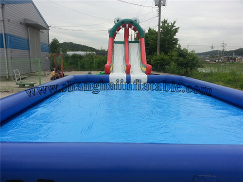 2016 best selling inflatable slide and swimming pool with high quality for kids and adults.