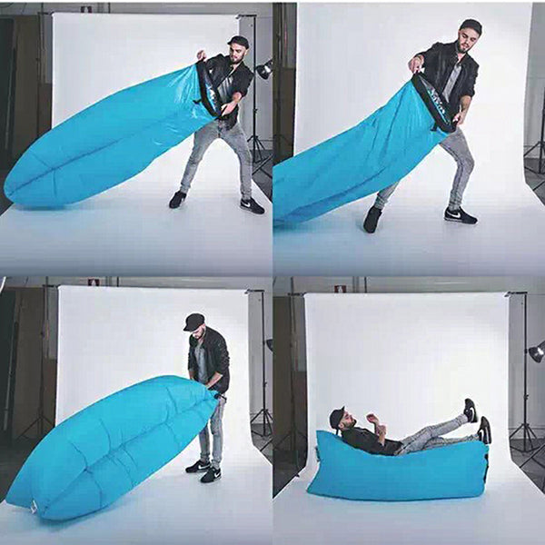 Inflatable Bed Outdoor Portable Sofa Beach Sleeping Bag Camping Air Bed Nylon LazyBed Saco De Dormir 236*70cm Inflatable Bed