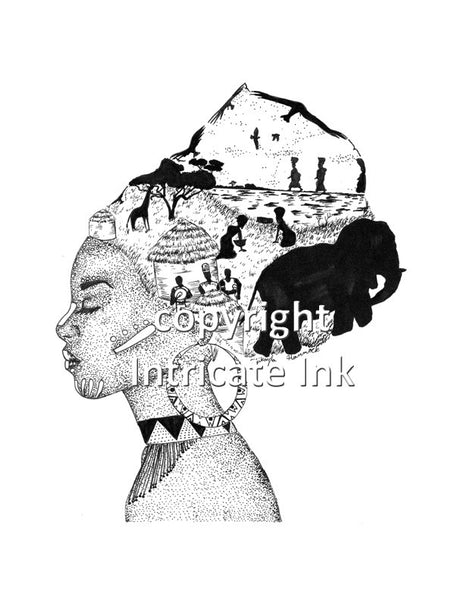 African Headwrap Woman ink drawing - 24 x 36 in. poster