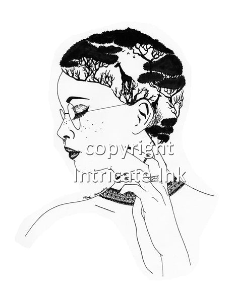 African Style Woman ink drawing - 24 x 36 in. poster