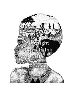 African Tribal Woman ink drawing - 24 x 36 in. poster