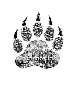 Bear Paw Pine ink drawing - 24 x 36 in. poster