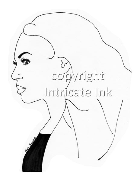 Beyonce Slay ink drawing - 8.5 x 11 in. print