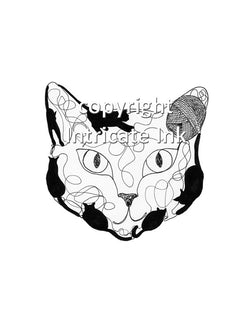 Cat with Yarn Face ink drawing - 8.5 x 11 in. print