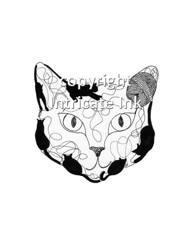 Cat with Yarn Face ink drawing - 24 x 36 in. poster