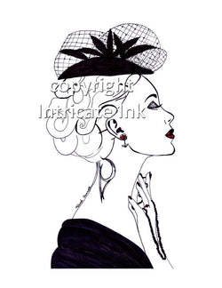 Elegant High Fashion Woman ink drawing - 8.5 x 11 in. print