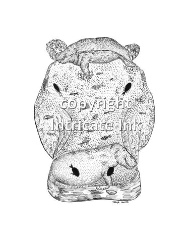 Hippo Head ink drawing - 8.5 x 11 in. print