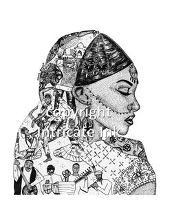 Indian Woman ink drawing - 24 x 36 in. poster