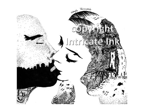 Mother Nature kissing Mankind ink drawing (landscape) - 24 x 36 in. poster