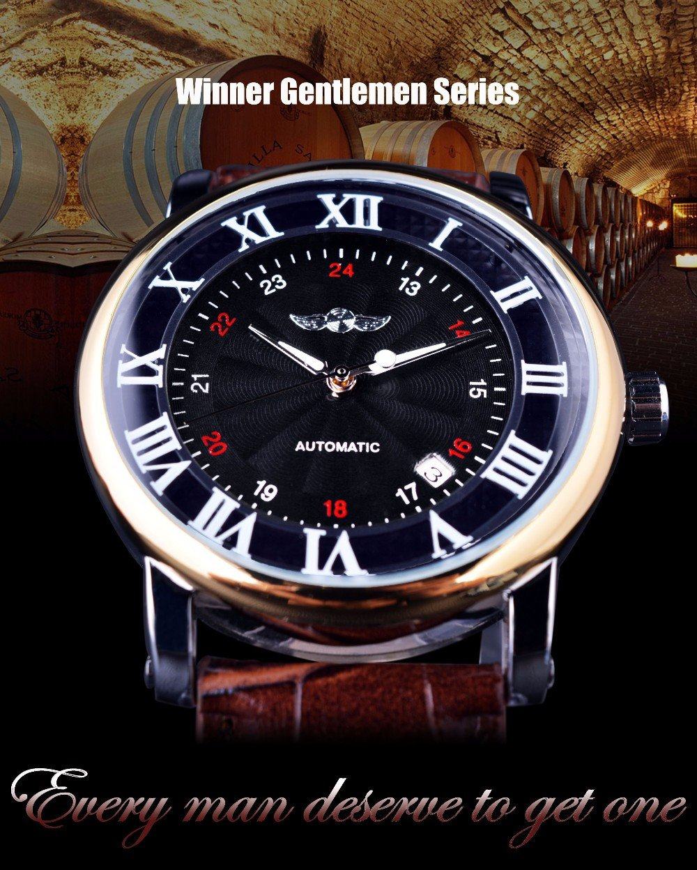 Gentlemen Series Golden Bezel Automatic Wrist Watch - World Wide Lux Brands