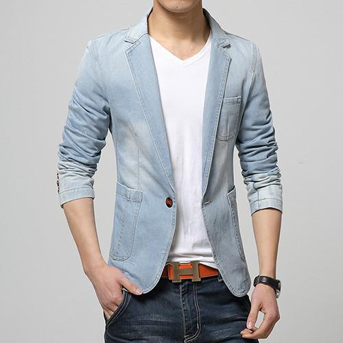 Slim Fit Denim Blazer - World Wide Lux Brands