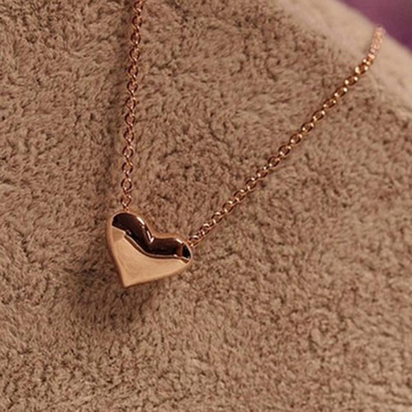 Chain and Peach Heart Necklace - World Wide Lux Brands