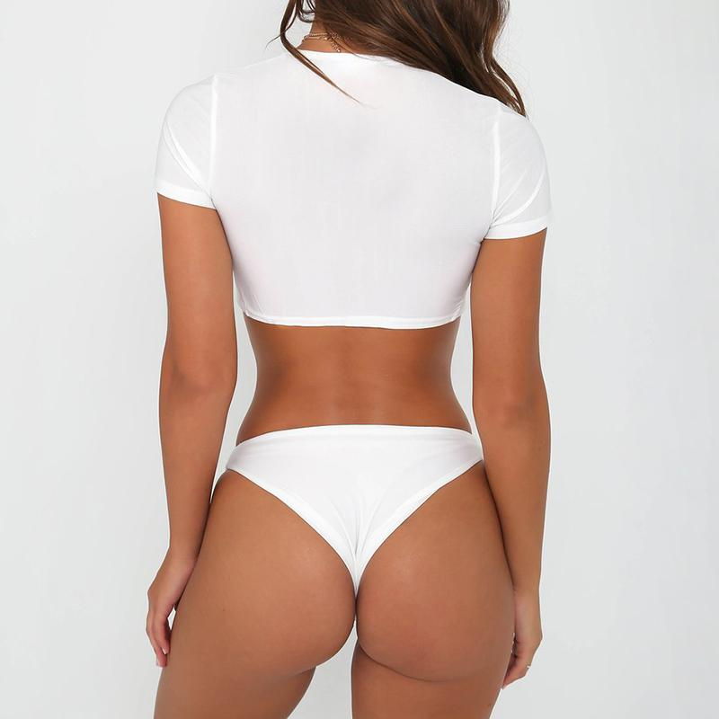 Brazilian Short Sleeve Front Knotted Bathing Suit - World Wide Lux Brands