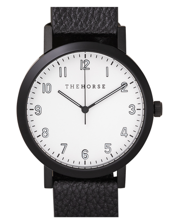 THE HORSE | THE RESIN: MATTE BLACK / WHITE DIAL / BLACK LEATHER