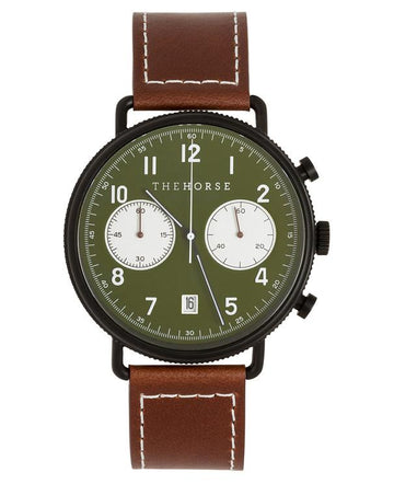 THE HORSE | THE CHRONOGRAPH - MATTE BLACK / GREEN / TAN LEATHER