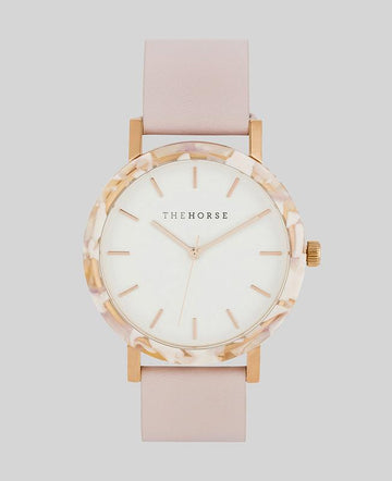 THE HORSE | RESIN - PINK NOUGAT SHELL / WHITE DIAL / BABY PINK LEATHER