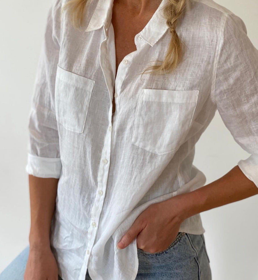 HUT | WHITE BOYFRIEND LINEN SHIRT