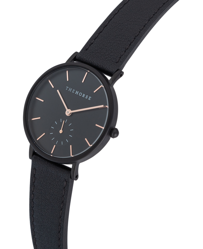 THE HORSE | THE CLASSIC - MATTE BLACK CASE / BLACK DIAL / BLACK LEATHER STRAP