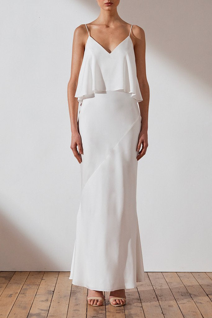 SHONA JOY | LUXE BIAS FRILL SLIP DRESS - IVORY