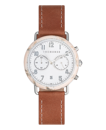 THE HORSE | THE MINI CHRONOGRAPH - PEACH SPECKLE NOUGAT / TAN LEATHER